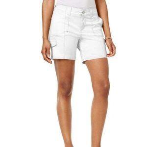 NWT Style & Co Zig-Zag Cargo Shorts White 8P